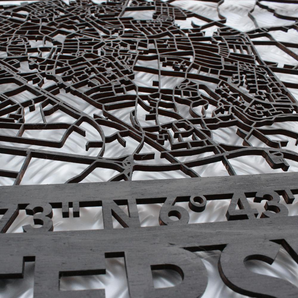 Wandpaneel/-decoratie in de kleur mat-zwart