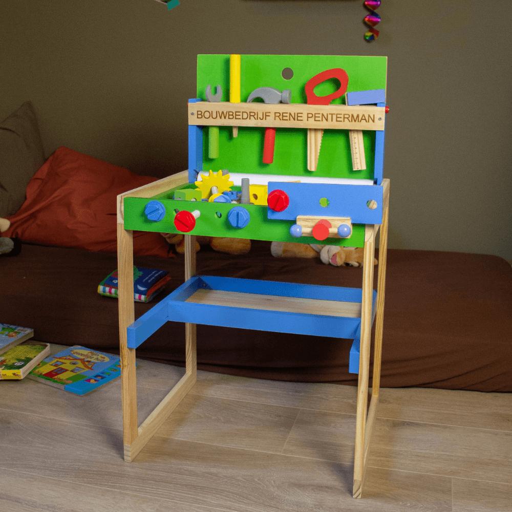 Kinderwerkbank van hout, met gereedschapsset (speelgoed)